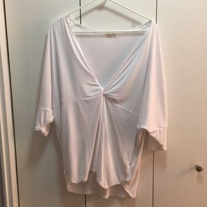 Urban Outfitters V Neck Ruched Knot White Tee